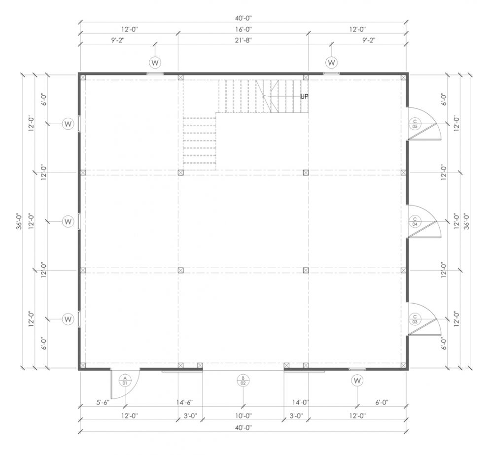 Barn package timber frame post layout 40x36 great plains western horse barn