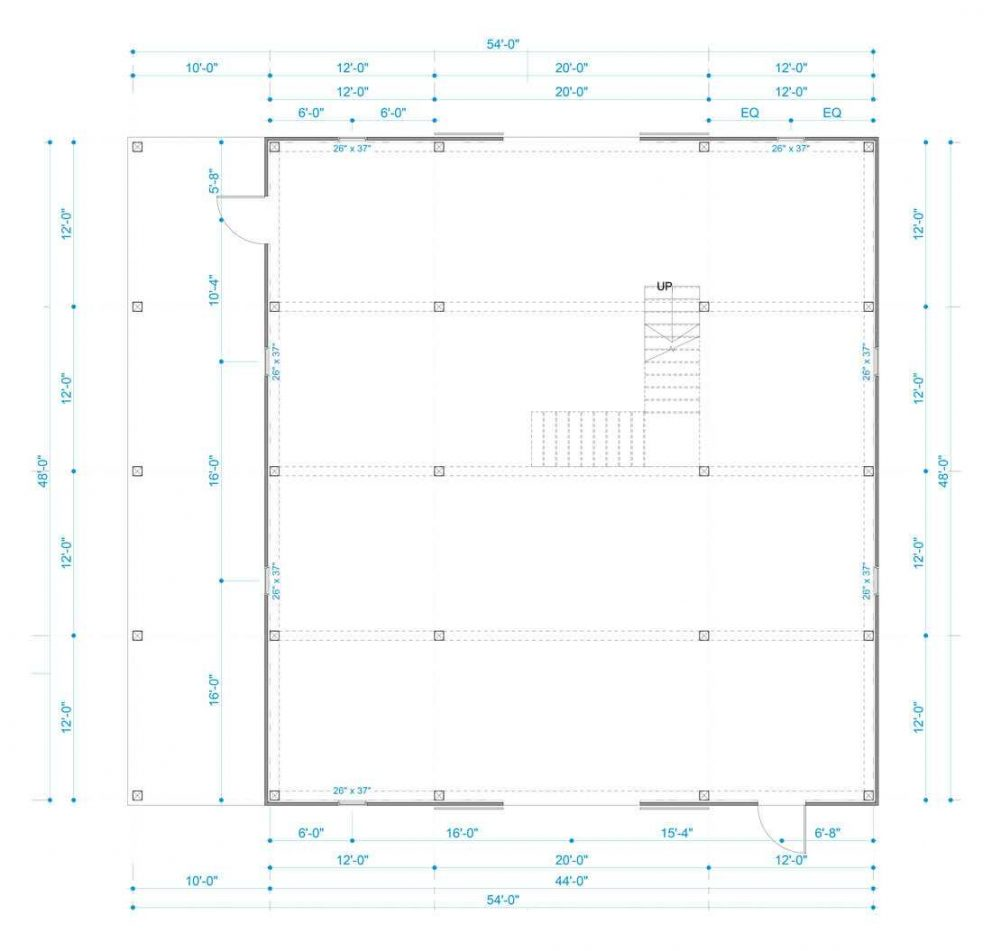 Barn package timber frame post layout 44x48 great plains western horse barn