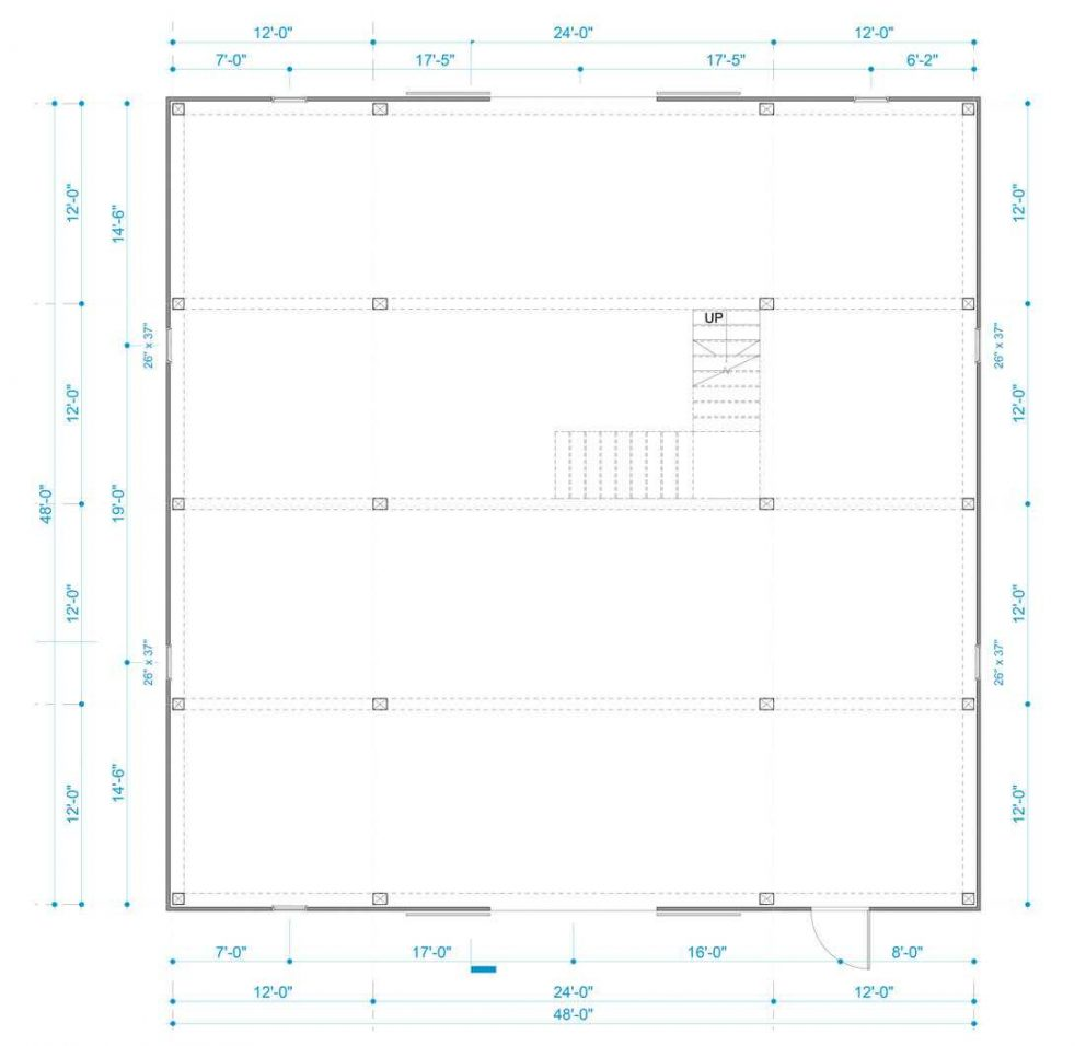 Barn package timber frame post layout 48x48 ponderosa country barn